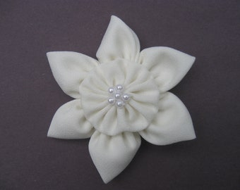 Ivory Hair Clip, Ivory Hair Flower Girl Clip, Wedding Hair Accessories, Toddler Hair Clip