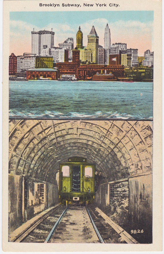 BROOKLYN SUBWAY, NYC, Vintage Postcard, 1930s - 1940s, Published by Manhattan Postcard Co., New York City