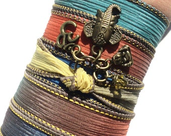 Sacred Elephant Buddha Silk Wrap Bracelet Yoga Jewelry Om Bohemian Arm Band Unique Gift For Her Under 50 Item J44