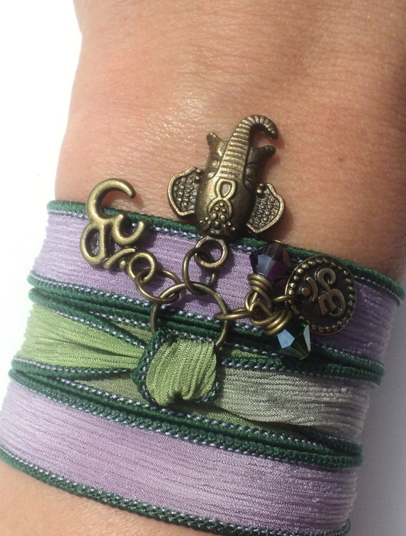 Sacred Elephant Silk Wrap Bracelet Yoga Jewelry Namaste Om Bohemian Zen Anklet Necklace Purple Unique Gift Under 50 Item S93