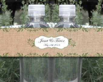 Burlap Print with Vines Water Bottle Label - WATERPROOF