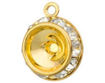 Set of 2 Crystal Bezeled Rivoli Holdes Gold Plated for Swarovski 1122 SS39 Rivolis (SKU 1551 - RRP-SS39-G)