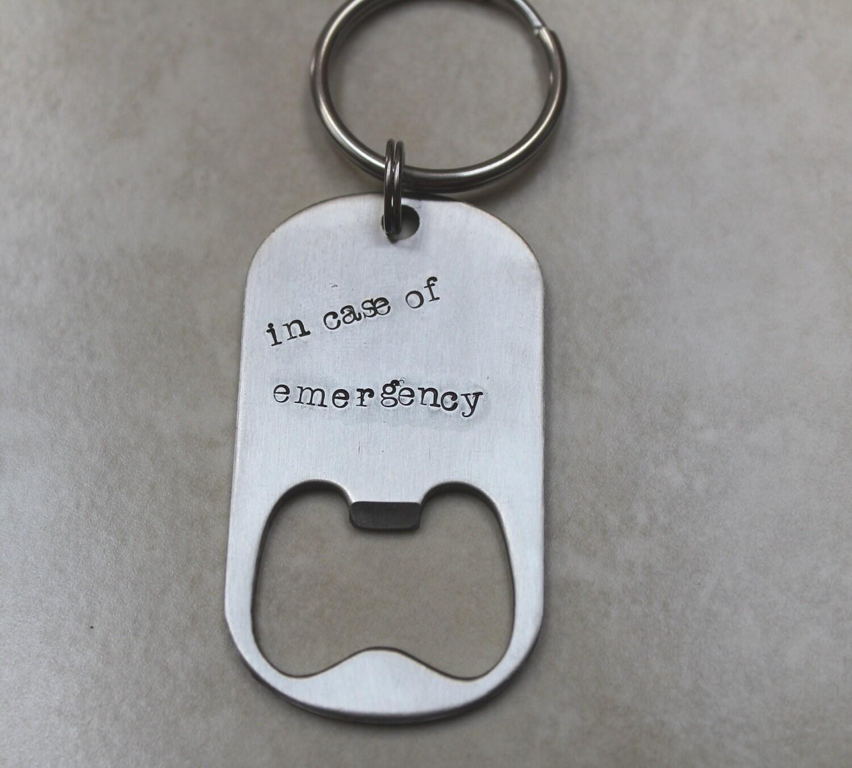 personalized handstamped bottle opener keychain stainless. Black Bedroom Furniture Sets. Home Design Ideas