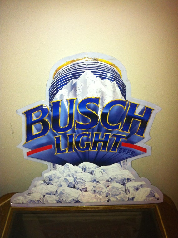 Large Vintage Busch Light Beer Sign Tin Produced By Signet
