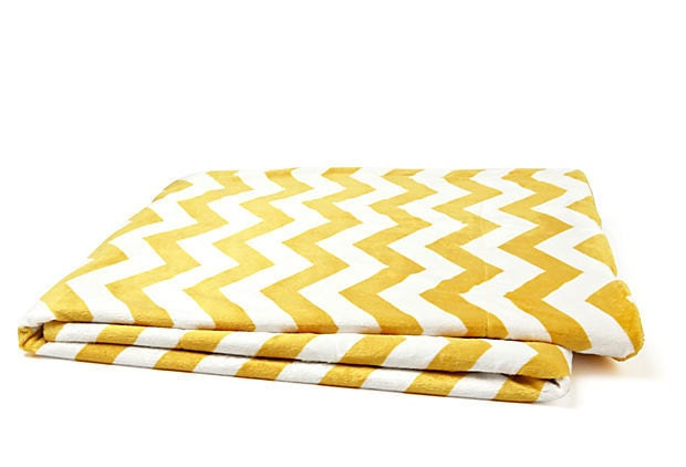 Chevron Throw Blanket Golden Yellow And Cream