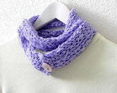 Purple scarf - Knit and crochet lavender purple cotton double layered neckwarmer scarf
