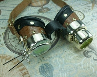 Steampunk goggles, tan, leather, brass, telescope, magnifiers,