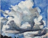 cloud study. float. original watercolor painting.