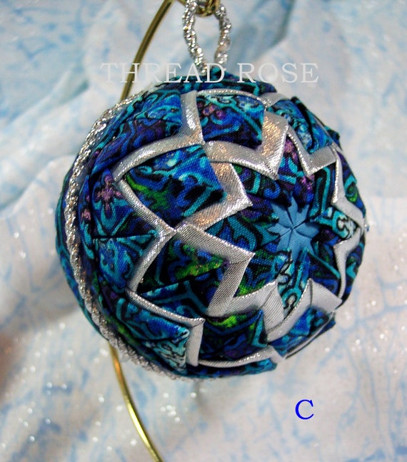 Christmas Tree Ornaments Quilted : Items similar to quilted fabric christmas ornament