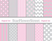 Sophisticated Baby Girl Pink & Gray Digital Paper -soft pink grey white polka dot chevron flower striped scrapbook 8.5x11 - Instant Download