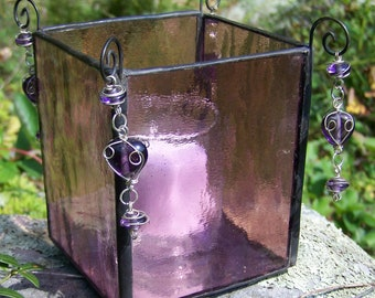 Stained Glass Candle Holder with Dangling Beads