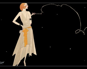 1920's Flapper Smoking Cigarette Fine Art Print - Digitally Remastered Fine Art Print / Poster