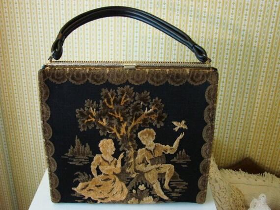 40s Tapestry Handbag (Victorian Romantic Scene)