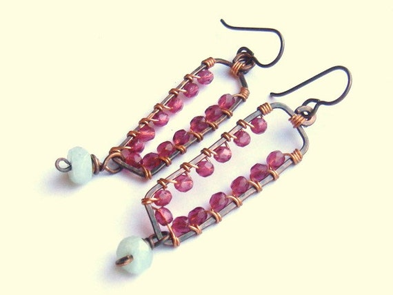 Cranberry And Pale Blue Earrings Wire Wrapped Artisan Earrings