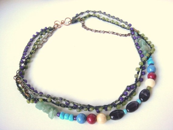 Crochet Beaded Stranded Turquoise, Green, Amethyst Purple Beaded Gemstone Necklace Boho Southwestern