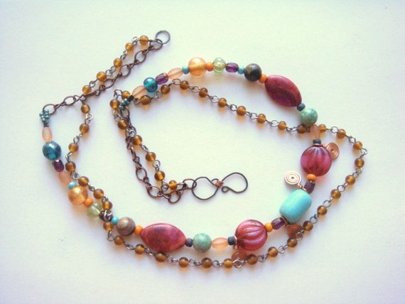 Boho Chic Turquoise, Pink And Amber Layered Strand Necklace