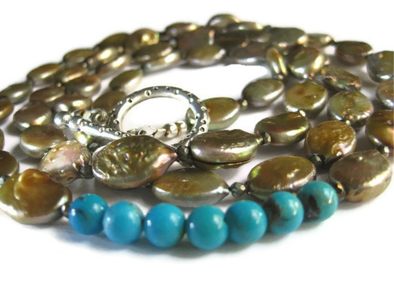 50% OFF Soft Gold Freshwater Pearl, Turquoise and Pyrite Long Necklace