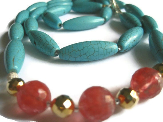 Long Necklace with Turquoise Howlite, Watermelon Chalcedony and Bright Gold Pyrite