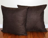 20% off - SET OF TWO - Solid Brown Pillow Covers - Textured Dark Brown Pillow Covers - 22x22 Brown Throw Pillows- Velvet Pillows - Quilted
