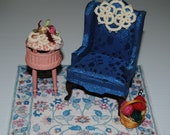 Cream Tatted miniature doll house oval doily