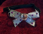 Grey and Purple Rhinestone Bow on Black Collar