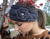Crocheted Cable Twist Headband/Earwarmer - Charcoal