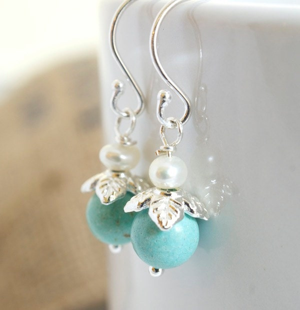 Turquoise and Pearl Dangle Earrings Delicate Earrings Blue