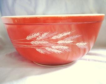 Vintage Pyrex Bowl Autumn Harvest Wheat Mixing Bowl Medium Size Mid Century Modern Copper