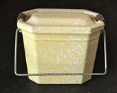 Christmas Sale - Vintage French enamel lunch box in yellow granite