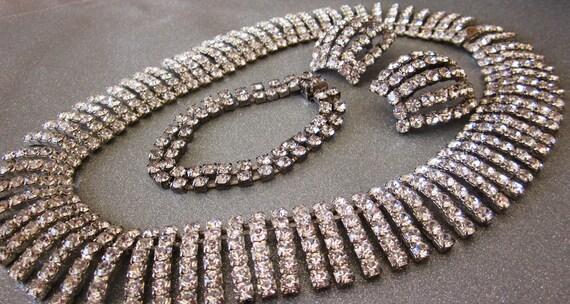 Vintage Rhinestone Bib Fringe Necklace, Bracelet and Pierced Earrings, Silver Tone, Bridal Parure