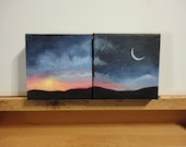 Reserved - Sunset, Moonrise Painting 4 x 4 inch Acrylic on Canvas