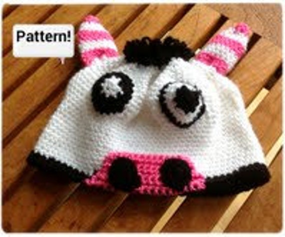 Baby Cow Hat, Crochet pattern - Crochet tutorial PDF