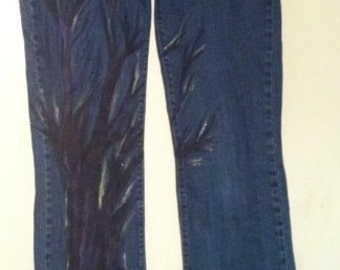 One-of-a-kind Hand Painted Tree Jeans - Size 6