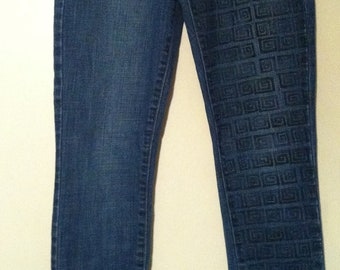 Hand Painted Square-Swirled Jeans - Size 6