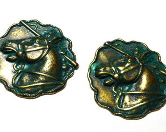 3 Horse Stamping, Antique Brass Patina, 30 mm