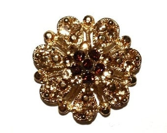 Rhinestone Flower Brooch, Light Colorado, Smoke Topaz