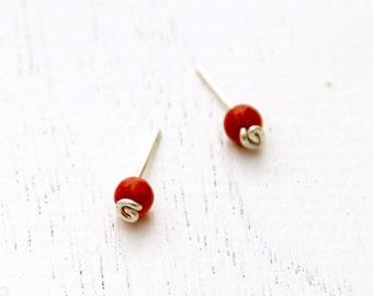Red coral stud earrings, silver earrings, coral earrings, sterling silver stud earrings, red posts. red studs, red post earrings