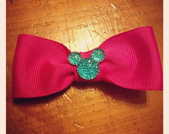 Sparkly Mickey Hair Bow - 2 inches