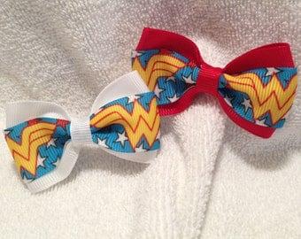 Wonder Woman Logo Hair Bow - 2 inches