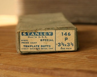 Pair Stanley Made in USA 3 1/2 x 3 1/2 Template Butts Hinges, Steel New Old Stock NIB, Gun Metal Grey, Mid Century Industrial Hardware