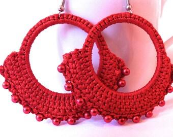 Handmade red belly dancer crochet earrings, gifts for her, arabian earrings, red crochet earrings