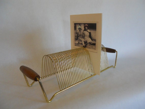 Metal record holder mail sorter photo display mid century