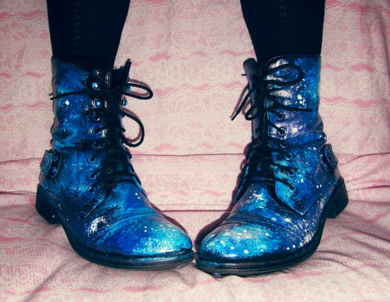 galaxy boots painted waterproof faux leather