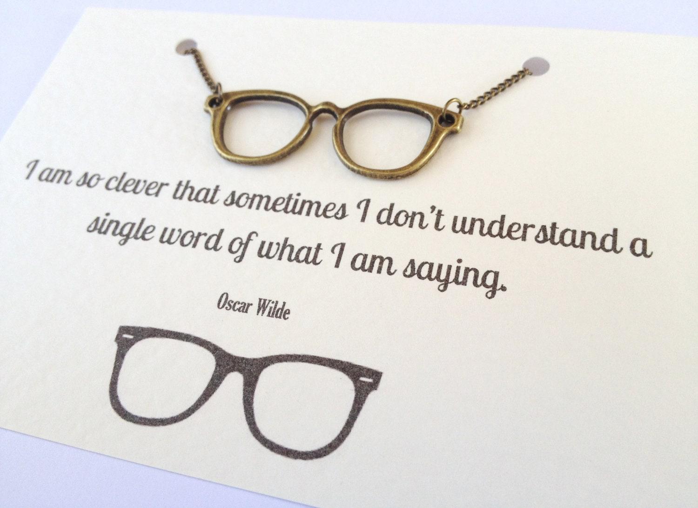 Oscar Wilde Geek Glasses Necklace Gift For Book Lover Geek