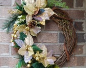"18"" Gold and Glitter Poinsetta Christmas Wreath"