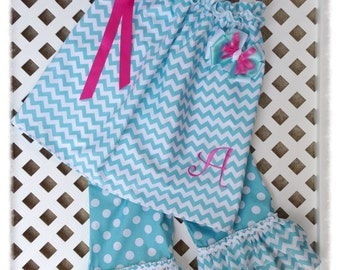 Chevron capri outfit - fully lined and matching hairbow included.