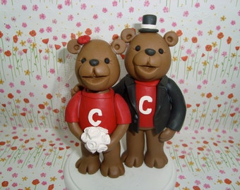 Personalized Bear Wedding Cake Topper