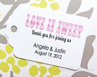 Custom Love is Sweet Wedding Favor Tags - White Cardstock