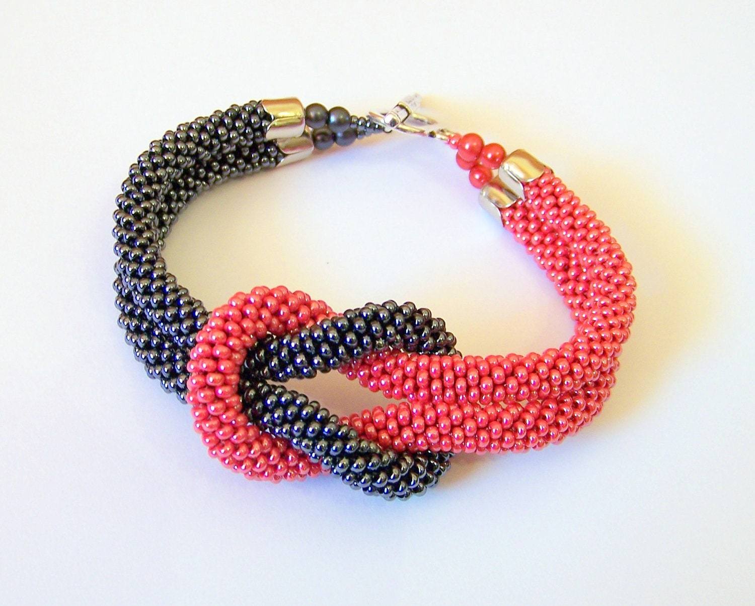Crocheting Jewelry With Beads : Beadwork Bead Crochet Bracelet in grey and red Beaded by lutita