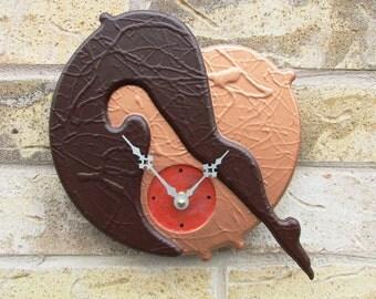 Wall clock Hand Painted Deep Copper Metallic Sheen